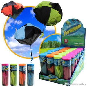 Children's hand throw parachute military soldier appearance square outdoor sports toy bucket