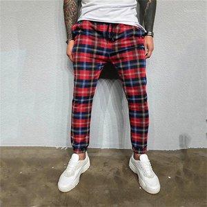 Tasarımcı Pantolon İlkbahar Sonbahar Erkek Skinny Pants yazdır Mens Koşucular Plaid Running Casual Mens Pockets