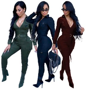 Designer Jumpsuits Fashion Slim Mulit Pockets Zipper Panelled Womens Jumpsuits Casual Females Clothing Solid Color Womens