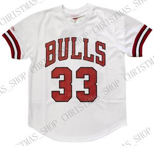 Encargo barato Scottie Pippen Mitchell Ness para hombre de la camisa del jersey de malla cosida verano tee retro camiseta de baloncesto