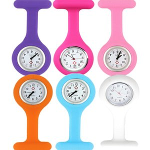 120pcs Promotion Christmas Gifts Colorful Nurse Brooch Fob Tunic Pocket Watch Silicone Cover Nurse Watches Party Favor RRA3103