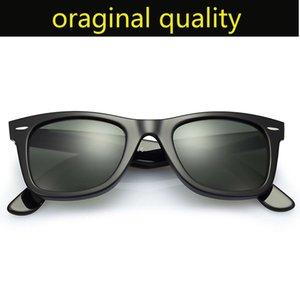 occhiali da sole ray modello farer marca 2140 montatura in acetato con lenti in vetro reale G15 Occhiali da sole originali custodia in pelle, i pacchetti, tutto!