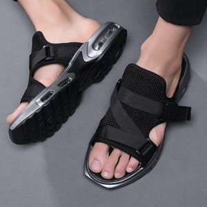 2020 Air cushion slippers Men vacation wearproof antiskid slipper with soft sole mesh slipper hollow shoes for summer slip on slippers zy393