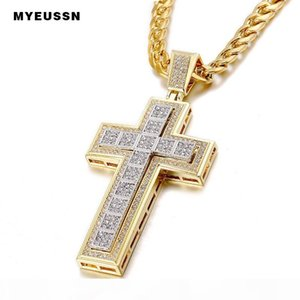 Double Trendy Cross Pendant Iced Out Shining Crystal Black Silver Gold Chain Necklace Men Necklace Hip Hop Jewelry Cuba's Neckla