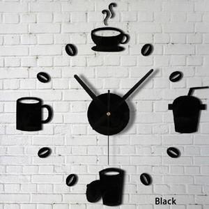 Quartz clocks fashion Stickers Coffee Cups Kitchen Wall Art Mirror Clock Modern Design Home Decor Wall Stickers free shipping