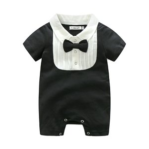 INS new arrivals baby girl boy kids climbing romper bow design short sleeve solid color summer romper high quality romper free ship