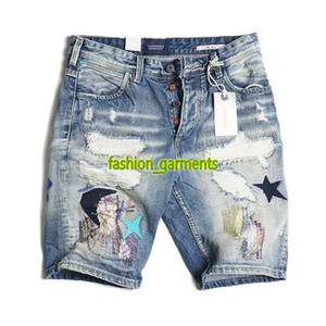 Nouveau Hommes Summer Fashion Short Retro Old Washed Patch Hommes Pantalons Jeans d'homme brodé Denim Shorts Bleu