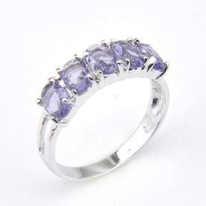 Idea LuckyShine nueva llegada completa nuevo oval 5- piedra natural amatista 925 plata esterlina para las mujeres del encanto del regalo Anillos Envio Gratis