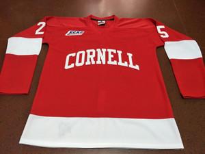 Real Benutzerdefinierte ein beliebiger Name oder Nummer Cornell Big Red # 25 Joe Nieuwendyk Hockey Jersey oder benutzerdefinierte beliebige Namen oder Nummer Retro Jersey