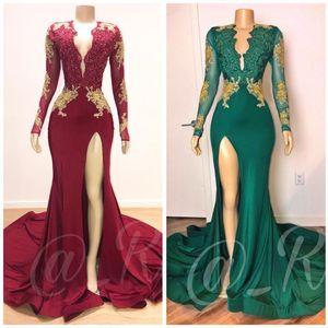 2020 темно-красный Sexy Русалка Пром платья V шеи длинным рукавом Sequined бисером вечерние платья вечерние платья партии Wear Vestidos