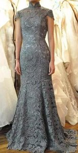 latest 2020 mother of the bride dresses high neck mermaid capped sleeves keyhole backless grey lace wedding dresses evening gowns
