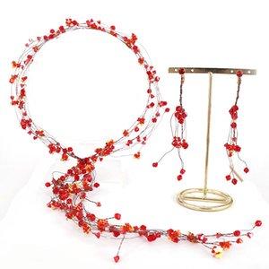 FORSEVEN Kadınlar Kız Gelin Gelin Düğün Saç Takı Kırmızı Kristal Hairband Bırak Küpe Set Kulak Klip Şapkalar Elbise Süslemeleri