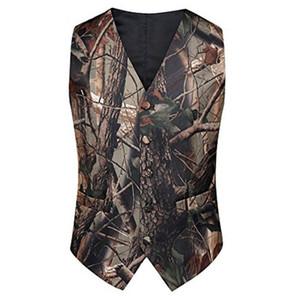 2019 Mode Camo Vest tweed gilet Pour Gilets De Bal De Mariage Gilets De Mariage Realtree Printemps Camouflage Slim Fit Hommes Gilets