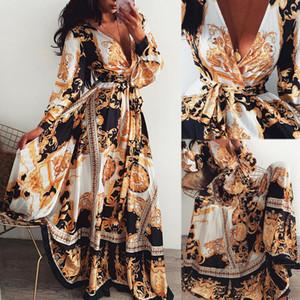 Femmes Femmes manches longues à manches longues en V floral boho vintage maxi robe de vacances de vacances