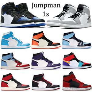 Новый королевский носок High 1S Баскетбол обувь Jumpman 1 сосна зеленый черный тапок женщин Бесстрашный суда фиолетовый белый UNC Патентный Трейнеры