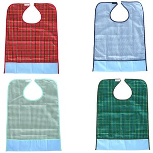 3 Colors PVC Large Reusable Waterproof Adult Mealtime Bib Disability Clothes Protector Apron Grid Pattern