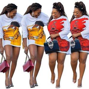 Pull Casual Designer Vêtements pour femmes sexy Figure Imprimer Womens Casual Robes Femmes desserrées Mode Midi Robes
