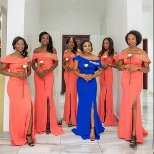 African Mermaid Bridesmaids Dresses Long Bateau Cap Sleeveless Slim African wedding Guest Dress Split Side Maid Of Honor Dress Gowns B56