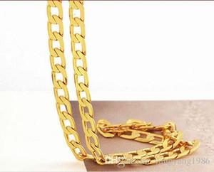 Amarillo fino joyería del oro sólido 14k amarillo cadena para hombre de oro collar de cumpleaños de San Valentín regalo valioso
