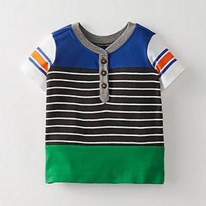 Pequeno Maven Novo Verão Crianças Roupas Curtas O-pescoço Listrado Multicolor Botões de Malha de Algodão Fino Qualidade Meninos Casuais Tshirts J190529