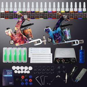 Dragonhawk Tattoo Kit 2 Machines Coils Guns 20 inks Power Supply 20 Needles Tips Beginner Tattoo Set