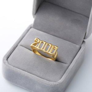 خواتم رخيصة قديم الإنجليزية خواتم للنساء رجال السنة العدد 1992 مجوهرات 1996 1997 1998 ذهبي فضي اللون الفولاذ المقاوم للصدأ حلقة الأزياء