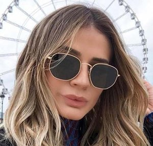 Moda esagonali occhiali da sole vintage Raggi Donne Uomini del progettista di marca di vetro di Sun Bans occhiali per le signore UV400 3548 con i casi