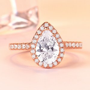 Luxury Rose Gold Ring Real High-end CZ Diamond Gemstone Ring 925 Sterling Silver Platinum Plated Ring Bridal Jewelry Earrings