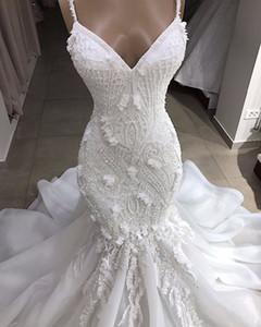 Sexy Spaghetti Lace Appliqed frisada Open Back Mermaid vestido de casamento de luxo cristal 3D Flores Bainha Plus Size Bohemian Praia Vestido de Noiva