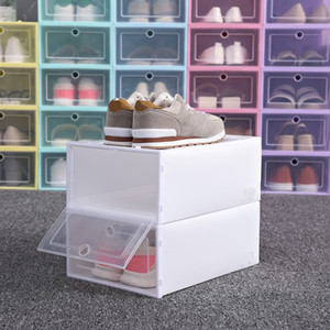 1PC Foldable Clear Shoes Storage Box Plastic Stackable Shoe Organizer Stackable Stacking Space Saving Master 2020 dropshipping