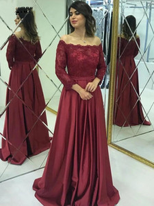 Burgundy Mother of the Bride Dresses Lace Satin Off the Shoulder Long Sleeve Wedding Party Guest Prom Gowns Formal Evening Dresses