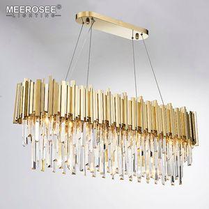 Moderne Lustre en cristal clair Ronde Cristal Éclairage Cristal d'or Lustres Pendant Light pour salle à manger Salon Chambre Restaurant Lampe
