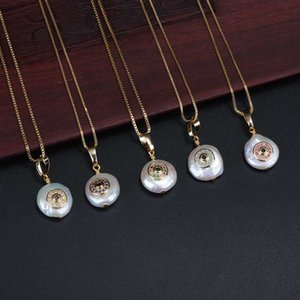 tiny cz paved coin disc evil eye protection charm freshwater pearl bead chic gold link chain pendant choker necklaces for women