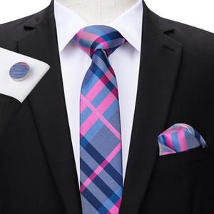 Привет-галстук Мода Slim Tie Stripe Узкие узкие шелковые жаккардовые тканые галстуки Галстук Hanky Запонки Набор Для Мужчин Свадьба Groom Костюм N-3100