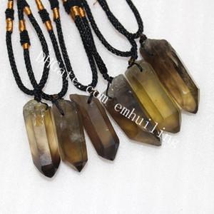 10Pcs 30-35mm Natural Smoky Citrine Crystal Point Collana pendente al quarzo Genuine Irregular Brown Yellow Gemstone Wand Collana regolabile