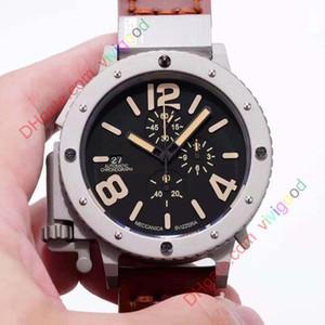 Brand New Quartz Chronograph Stopwatch Men U chronograph U42 Chimera Silver Aged Brown Cow Black Leather Boat Watch