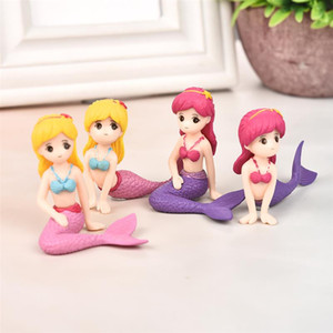 Set of three Sexy Mermaid Fairy Garden Miniatures Gnomes Moss Terrariums Resin Crafts Figurines for Home Decoration Mini Figures