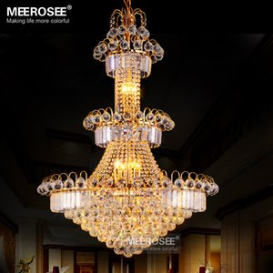 Modern Large Hotel Silver Crystal Chandelier Light Fixture Gold or Silver Lustre Hanging Light for Restaurant Lobby Staircase MD8514