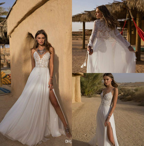 2019 Asaf Dadush Boho свадебные платья спагетти кружева свадебные платья бедра высокие разрезы с обернуть шифон пляж свадебное платье на заказ