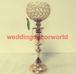 New design trompete de cristal de vidro de ouro de metal vaso de flores stand centerpiece casamento para decoração de casamento decor00117