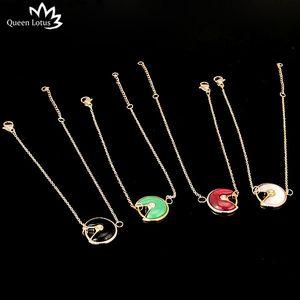 Королева Лотос Новый высокое качество 18K розовое золото изогнутый черный и белый красный зеленый Shell браслет женщин браслет браслет для подарка оптом