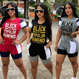2020 European and American Women's Dresses Printed Letters Fabric Patchwork Fashion Sports T-shirt Shorts Set Women Clothes