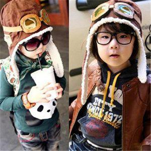Cute Baby Pilot Cap Мода малышей зима теплая шапочка Hat Дети Earflap черепа Шляпы Открытый Ski Caps LJJ-TA1854