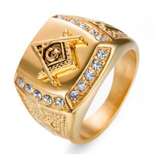 Paslanmaz Çelik Erkek Yüzüğü Pırlantalı Altın Masonik AG Titanyum Çelik Yüzük Erkek Ri
