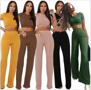 Wide Leg Summer Womens Tracksuits Crop Top Solid Color Crew Neck With Wide Leg Womens Designer Tracksuits Middle Waist Slim Striped 2pcs