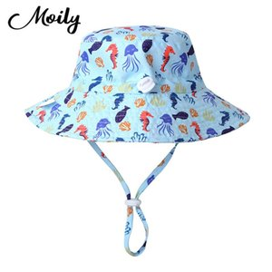 Summer Swim Beach Pool Baby Sun Hats Adjustable UPF 50+ Sunscreen Protection Wide Brim Toddler Baby Sun Hat for Toddler Boy Girl