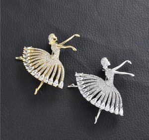 Mulheres New Designer Hot-Selling Broches Europeu e Americano Criativo Moda Balé Meninas de Dança com Broches De Diamante Roupas Populares