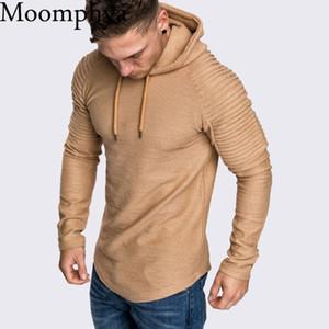 Moomphya Ragan sleeve hooded men t shirt Pleated sleeve t-shirt men Longline curved hem Hip hop slim tshirt streetwear tops