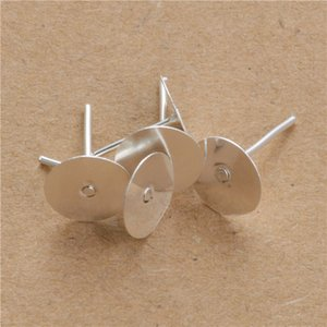 200pcs 4mm 5mm 6mm 8mm Gold Silver Earrings Settings Blank Round Base Cabochon Stud Ear Flat Base Post Pure Plug Silver Earrings