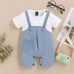 New 2Pcs Summer Baby Boys Clothes Outfits Sets Newborn Baby Short Sleeve Tops T-Shirt+Strap Shorts Casual Outfits Set